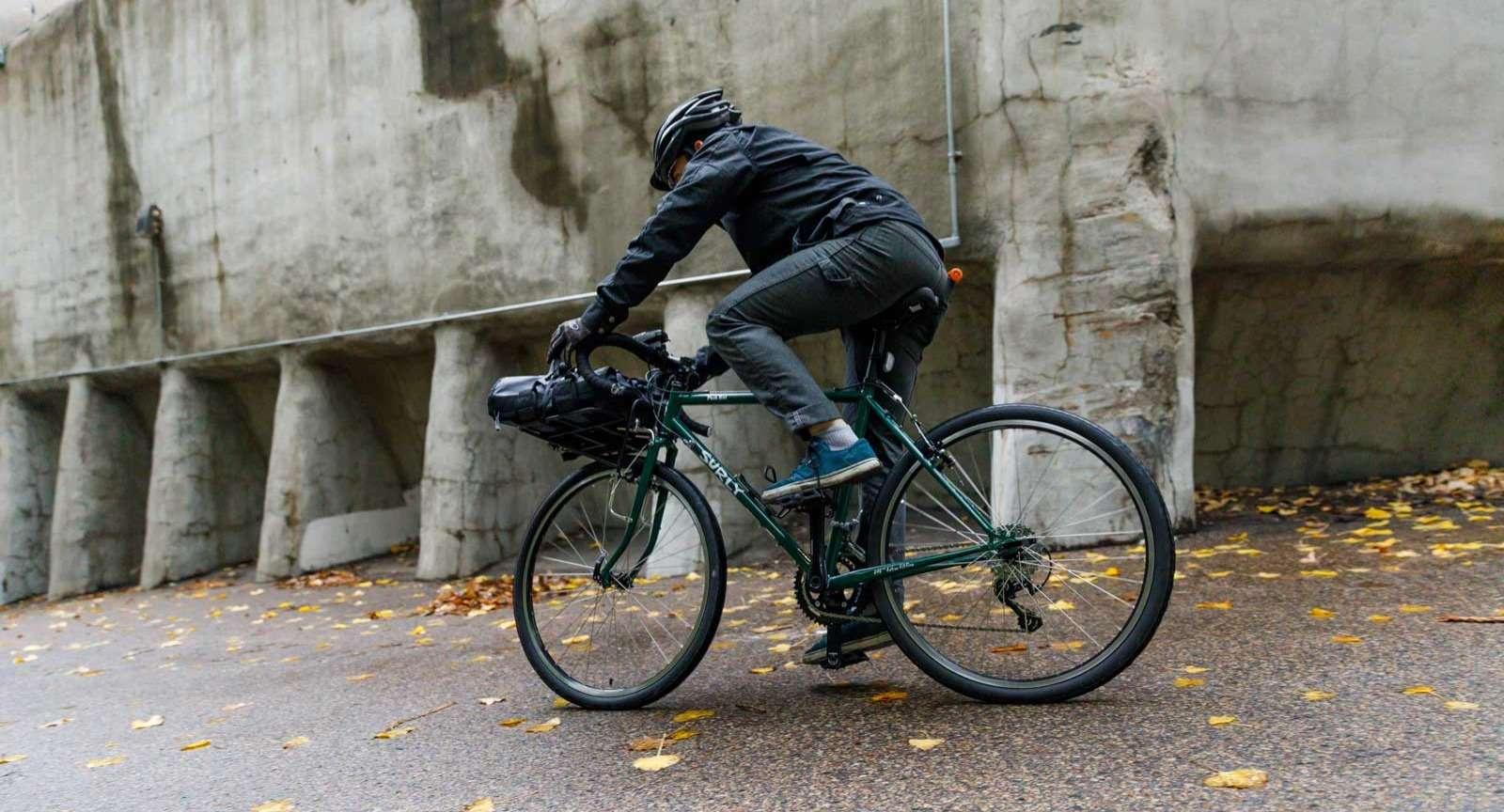 Bike rider around town
