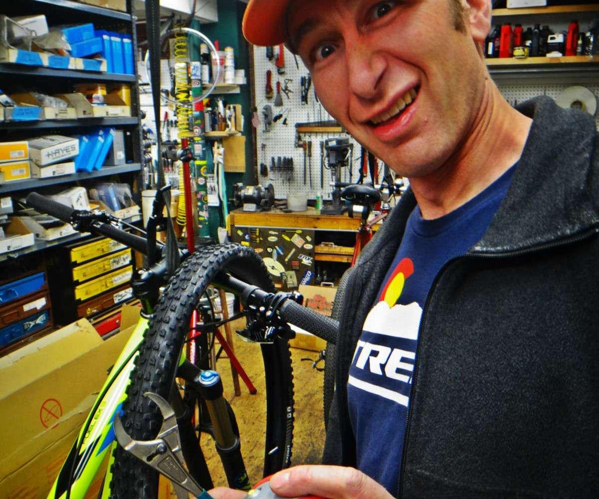 Man in bike shop