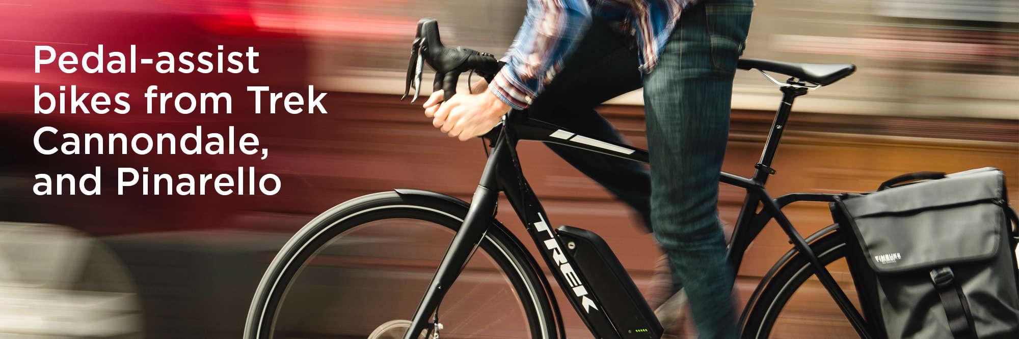 e-bikes from Trek, Cannondale and Pinarello