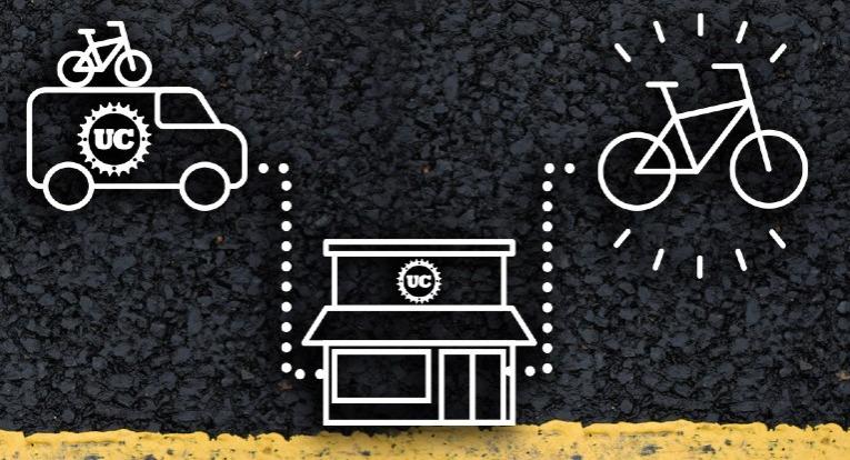 Illustration of van, bike shop, bike