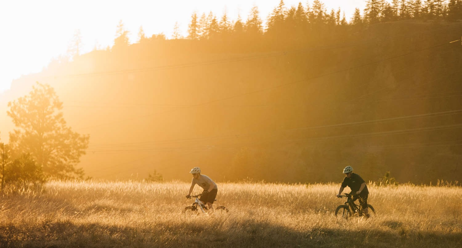 two mountain bike riders at riverside state park