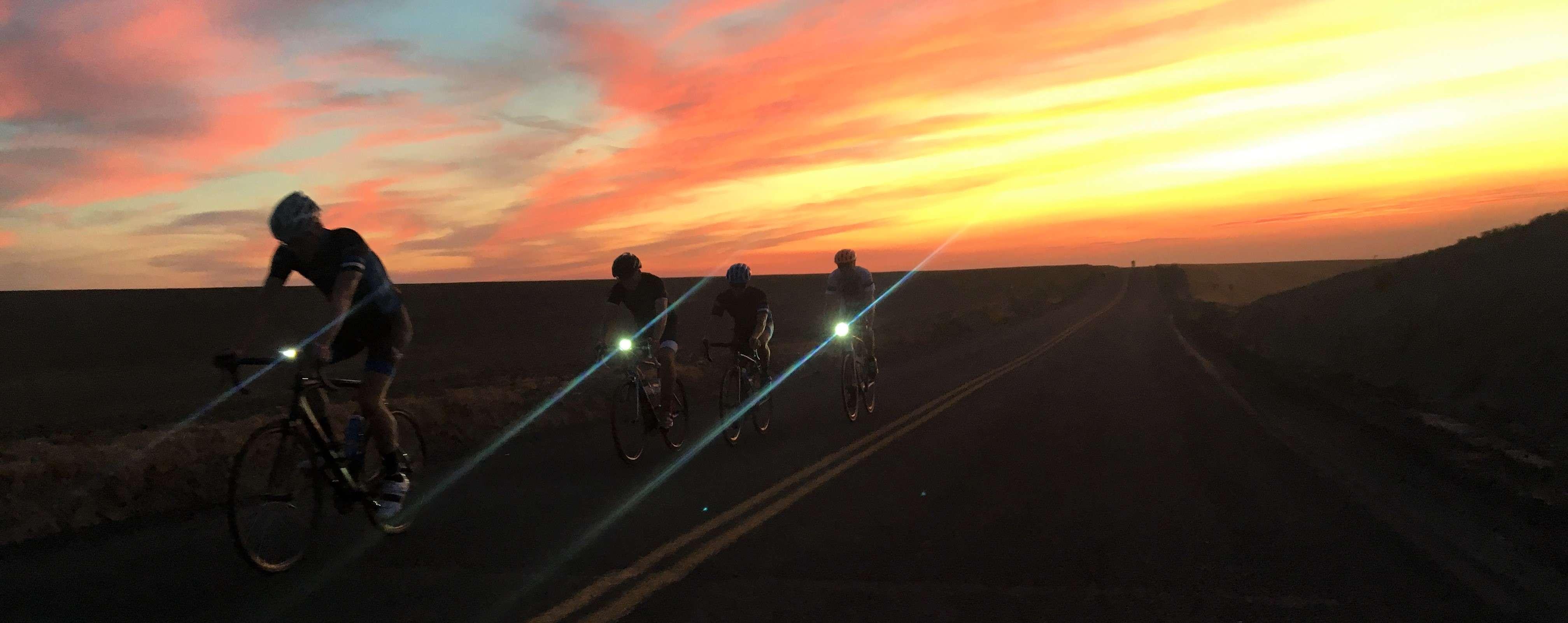 Group ride at dusk