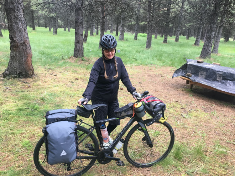Kathryn and loaded touring bike
