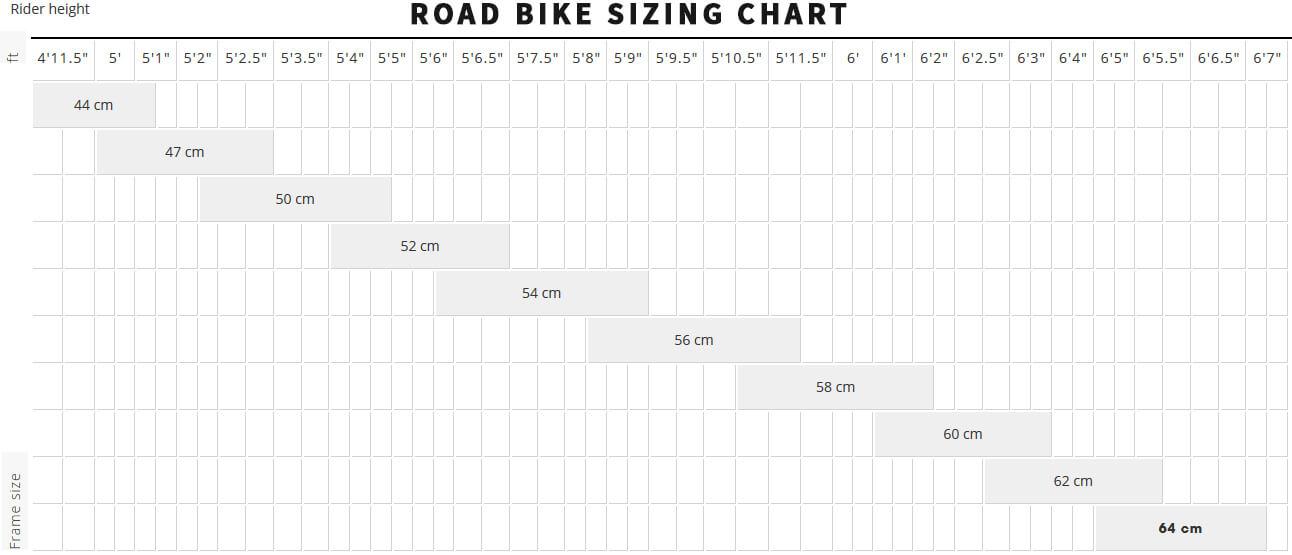 Road Bike Sizing Chart for Rental Bikes