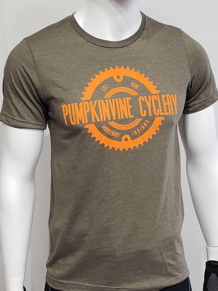 Pumpkinvine Cyclery Logo T-Shirt Color: Heather Olive Green & Orange