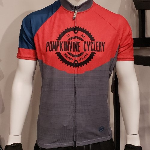 Pumpkinvine Cyclery PVC Short Sleeved Jersey, Limited Edition Color: Sangre/Denim