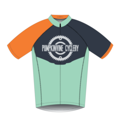 Pumpkinvine Cyclery Celeste & Orange Pro-Cut Jersey