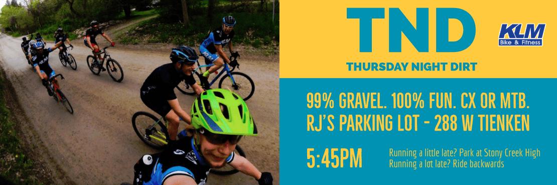 Thursday Night Dirt: Gravel ride at 5:45pm