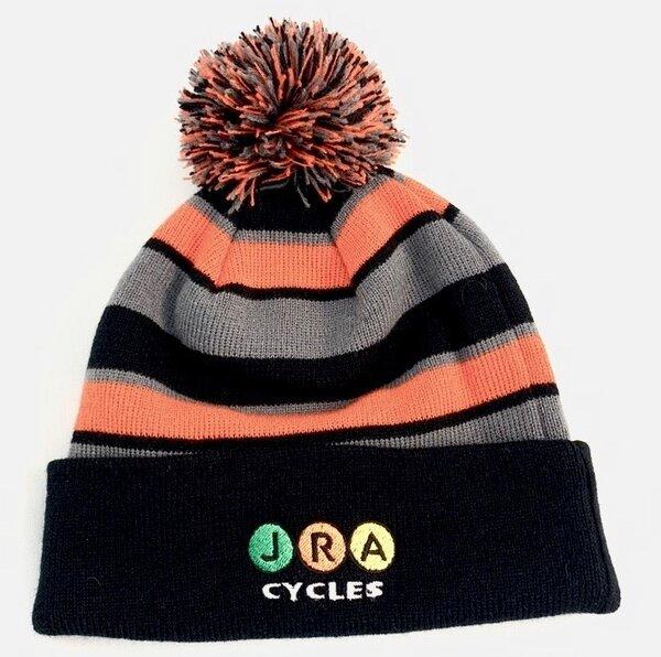 JRA Cycles JRA New Era Winter Pom Hat, Black/Grey/Orange
