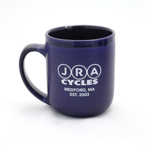 JRA Cycles Ceramic Mug: JRA Seal Coffee Mug, Blue