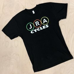 JRA Cycles T-Shirt: JRA Logo Rings Black