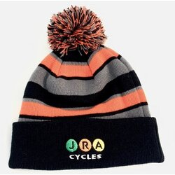 JRA Cycles JRA New Era Winter Pom Hat, Black/Grey/Orange