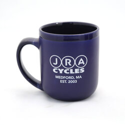 JRA Cycles Ceramic Mug: JRA Seal Coffee Mug, Blue
