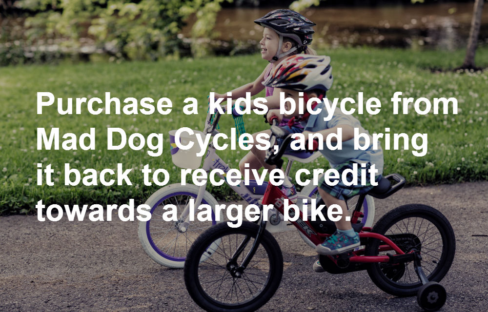 Kids bikes trade program at Mad Dog Cycles