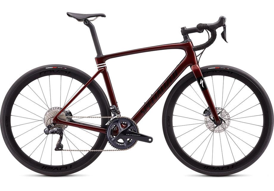 dark red road bike