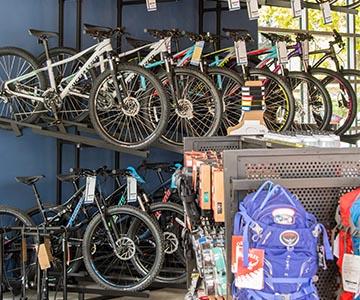 Bicycles in bike rack at Shop