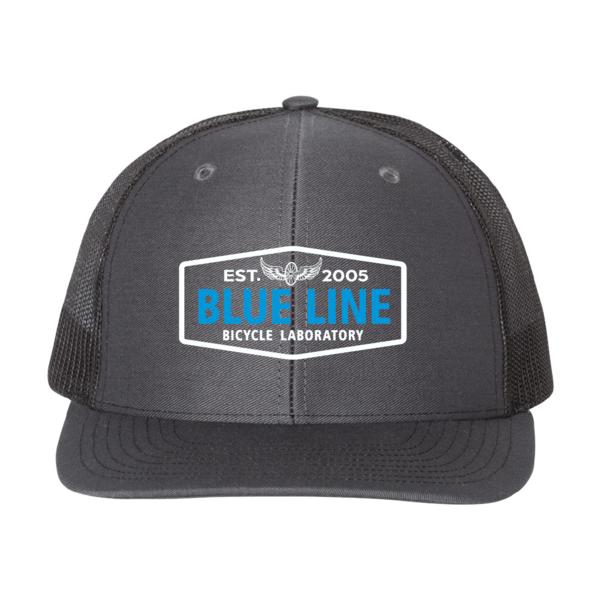Blue Line Bike Lab Logo Trucker Hat- Charcoal/Black