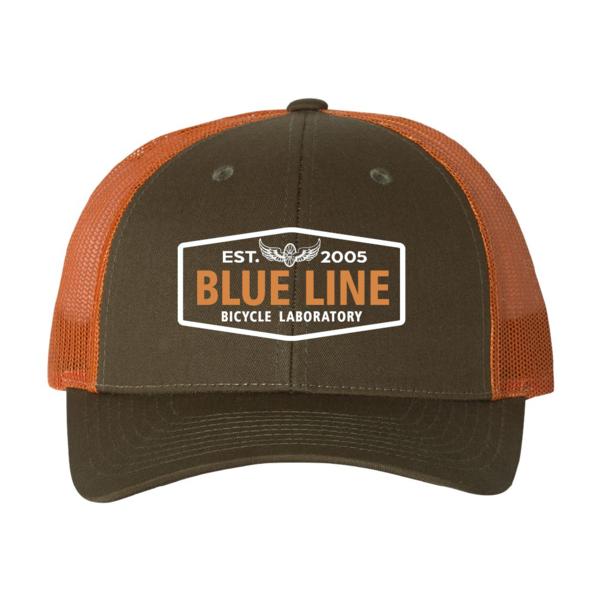 Blue Line Bike Lab Logo Trucker Hat- Green/Orange