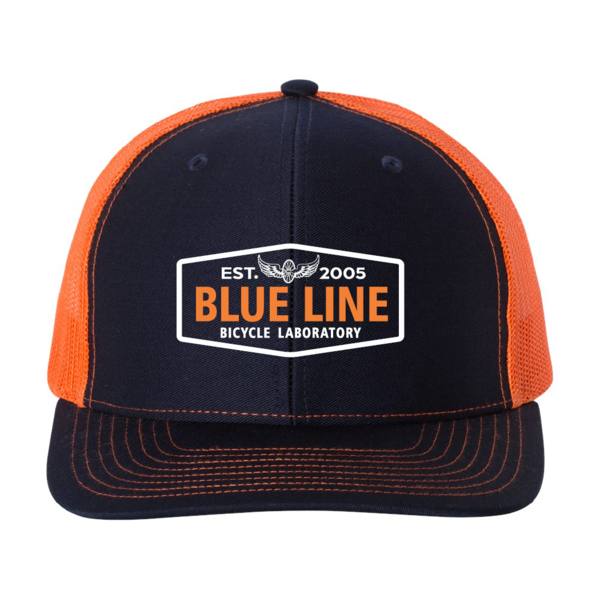 Blue Line Bike Lab Logo Trucker Hat- Navy/Orange