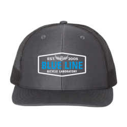 Blue Line Bike Lab Logo Trucker Hat- Charcoal/Black
