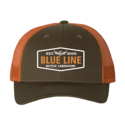 Blue Line Bike Lab Logo Trucker Hat- Green/Orange