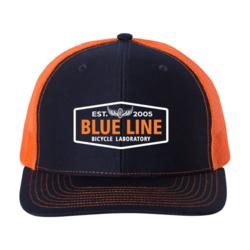 Blue Line Bike Lab Logo Trucker Hat- Navy/Orange