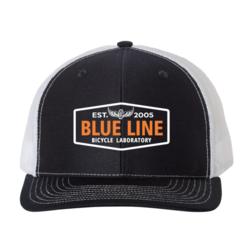 Blue Line Bike Lab Logo Trucker Hat- Navy/White