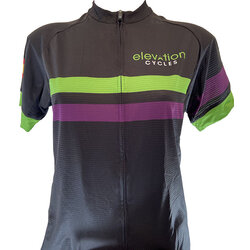 Elevation Cycles Custom W BLK STRIPE CUSTOM ELEVATION JERSEY SEMI FITTED
