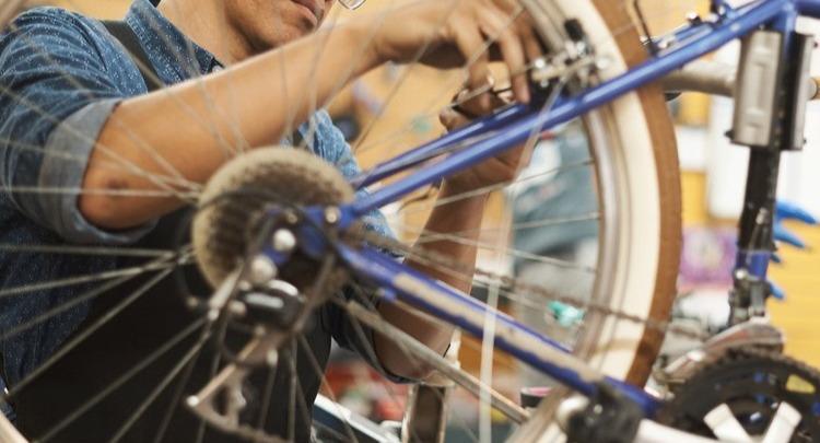 Bike Technician repairing a bicycle.