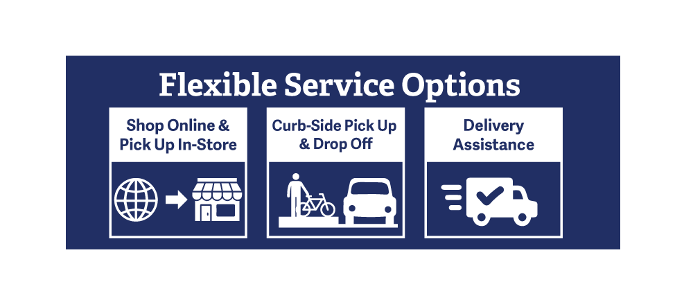 Flexible Service Options: store pickup, curbside pickup, delivery