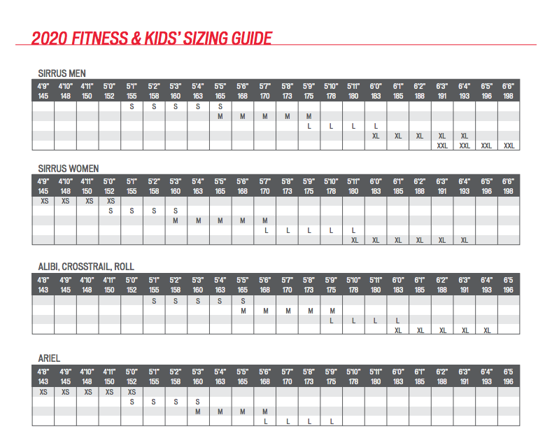 Fitness and Kids Bike Sizing Chart
