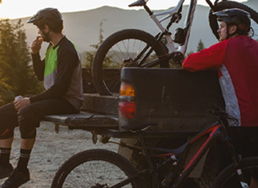 Mountain bikers at a trailhead