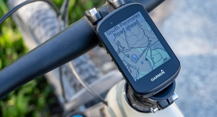 Garmin Edge mounted to a bike stem
