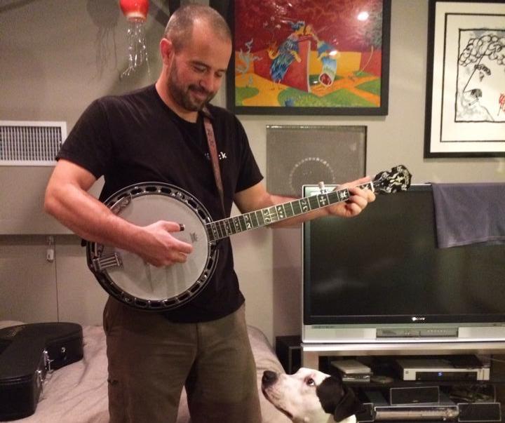 David playing banjo