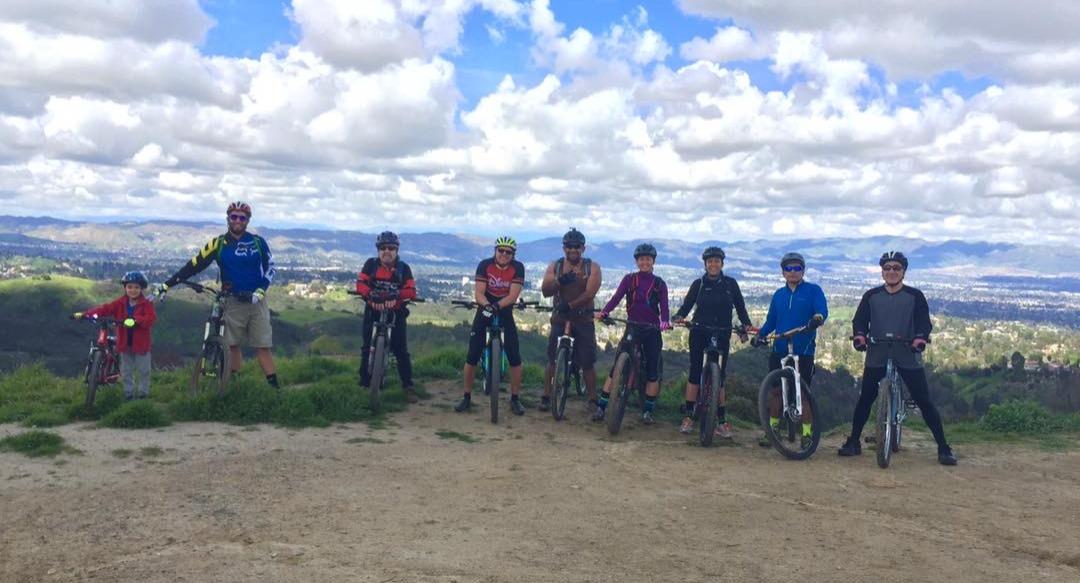 Group ride on mountain bikes
