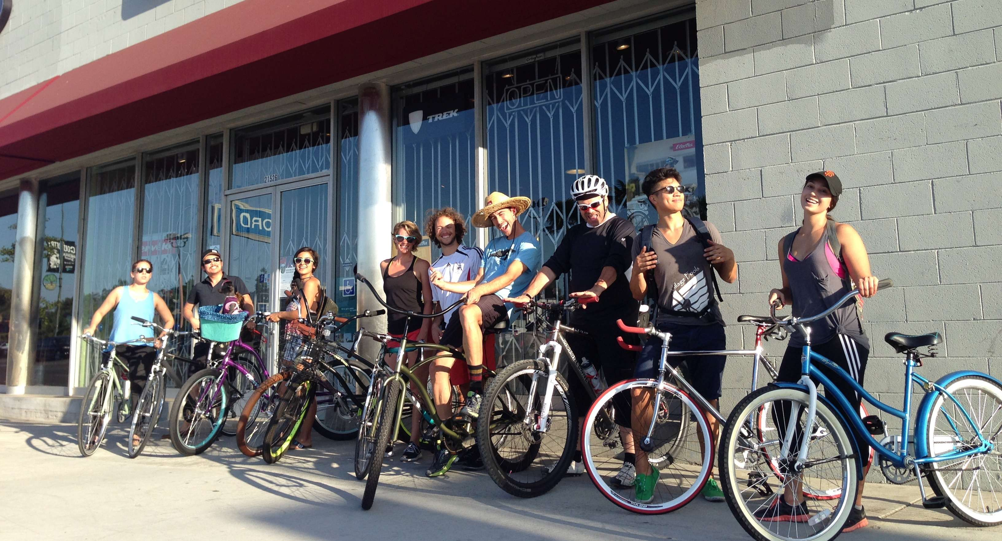 Group ride in front of store
