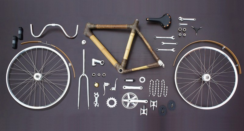 A bike in pieces