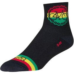 SockGuy SockGuy Classic Rasta Ride Socks - 3 inch, Black/Rasta