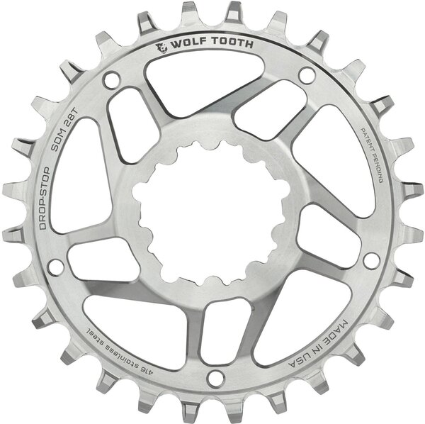 Wolf Tooth Components Drop Stop Stainless Steel Chainring For SRAM Crank with Removable Spider 6mm Offset