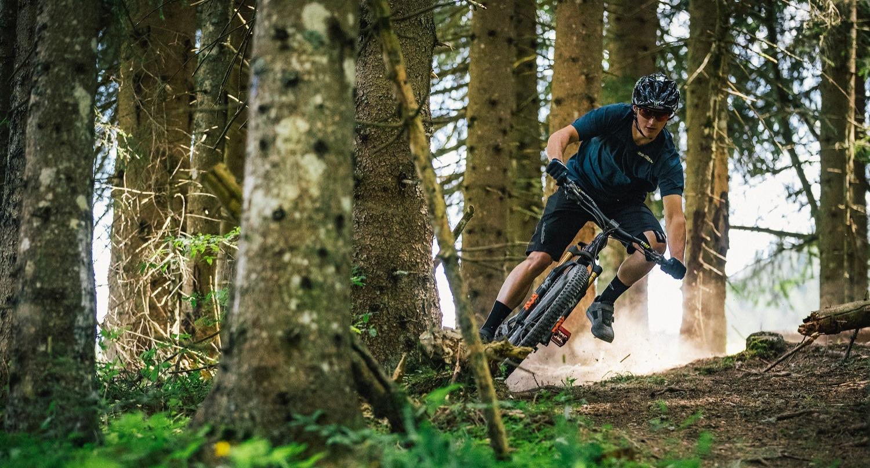 Rider on a full-suspension mountain bike