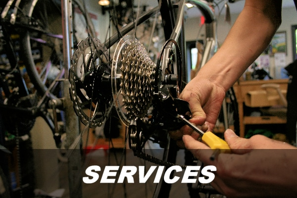 Services Link - Picture of working on a bike