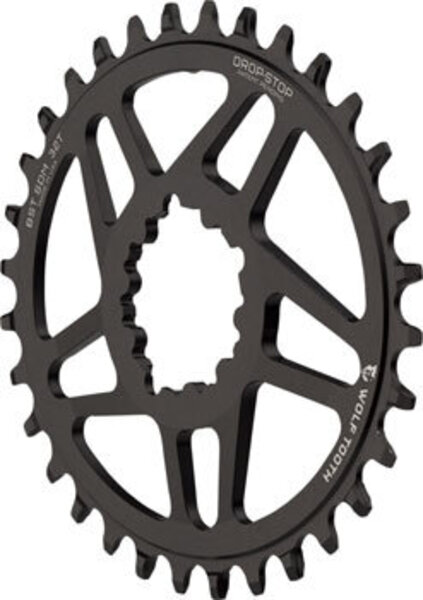 Wolf Tooth Components Drop-Stop Chainring: 32T, SRAM Direct Mount, 3mm Offset, For Boost Chainline, Powertrac Elliptical
