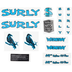 Surly Wednesday Frame Decal Set - Blue, with Crow
