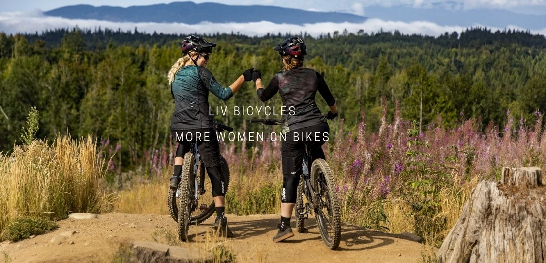 Two women mountain biking on LIV bicycles