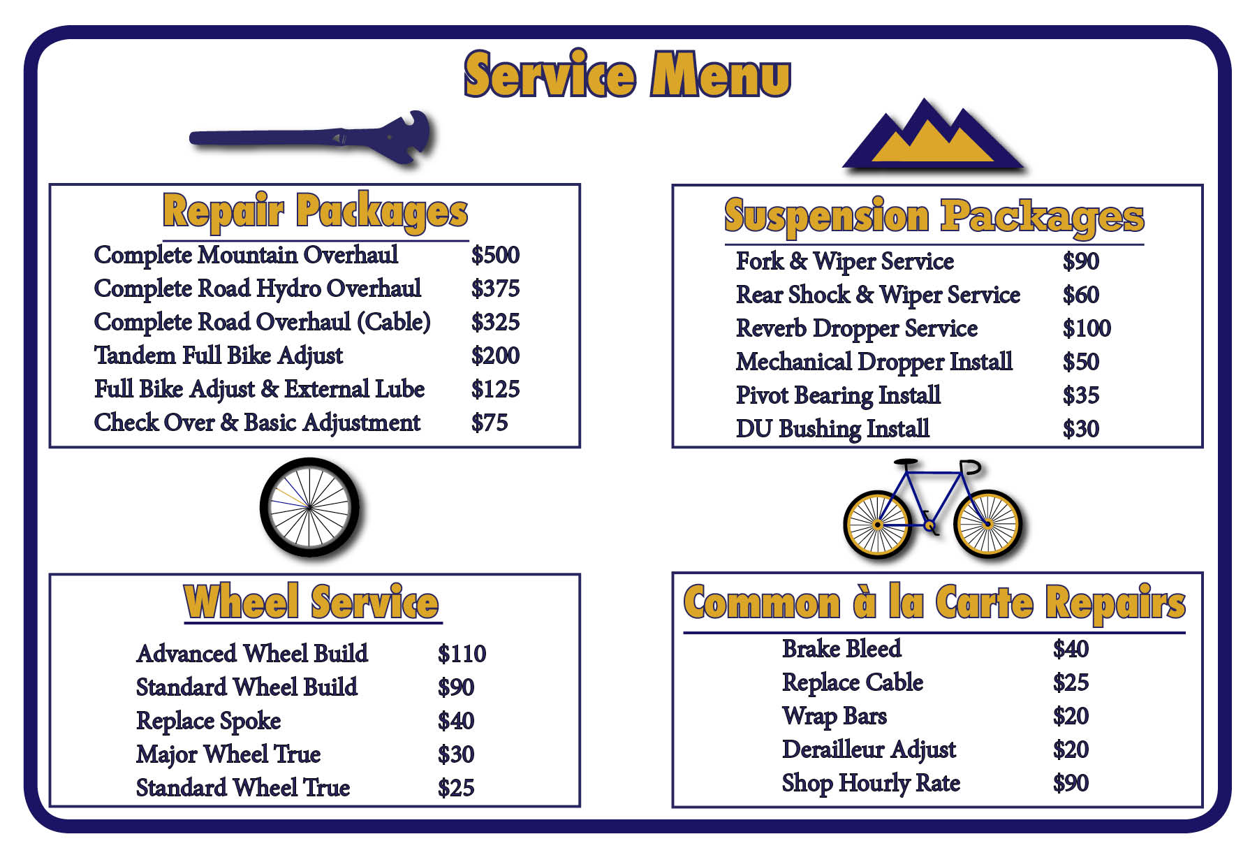 Graphic showing prices for suspension packages, repair packages, wheel services and a la carte repairs.