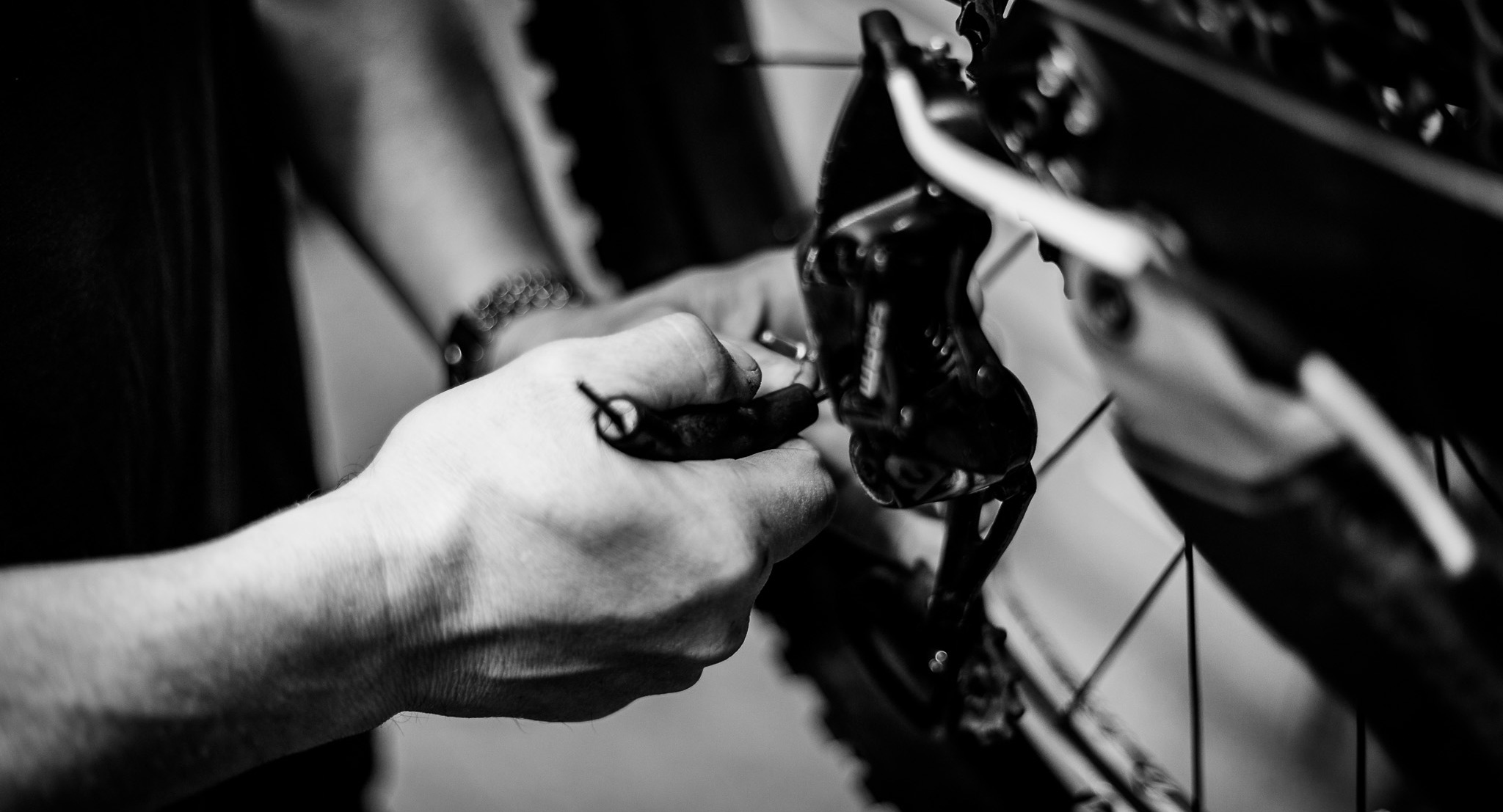 Bike Technician working on a bike