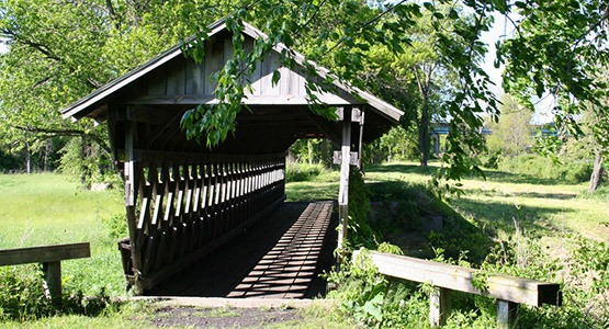 The wooden bridge on the Ohio Canal Greenway