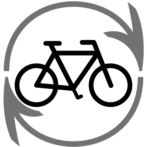 Bicycle inside a recycle circle icon