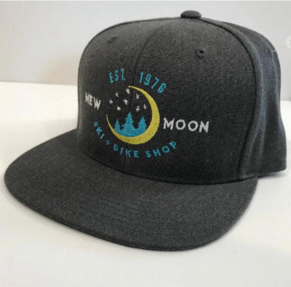 New Moon Flat Brim Hat, Dark Heather