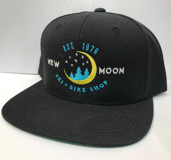 New Moon Flat Brim Hat, Black